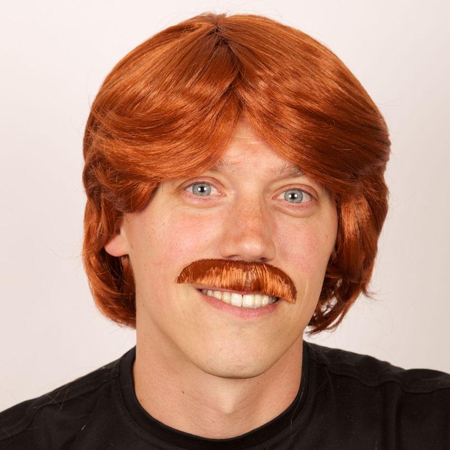 Perruque Homme roux avec moustache