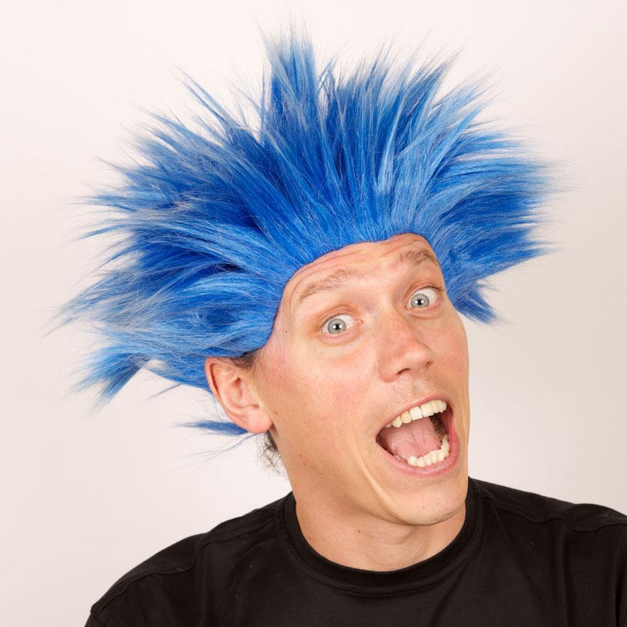 Perruque Electric shock bleue