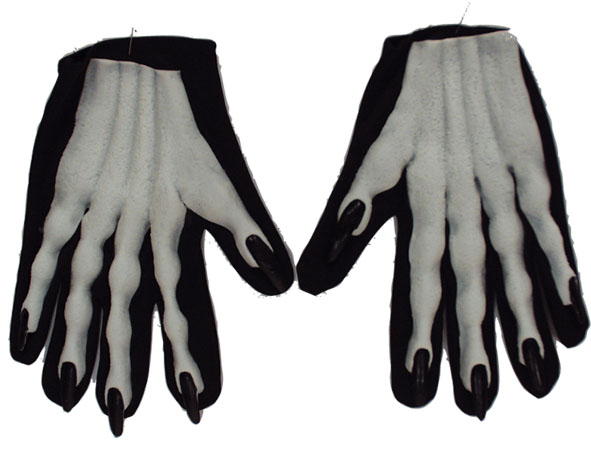 Mains blanche / ongles  noir  2 pieces